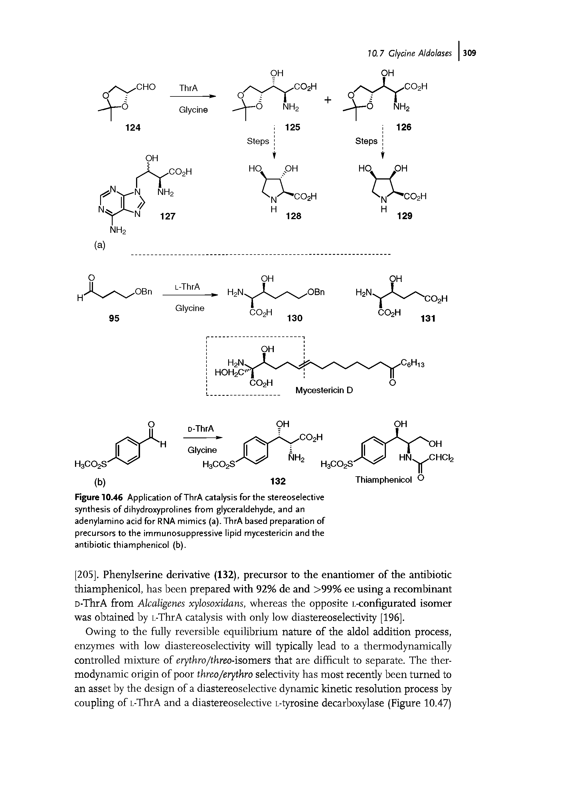"Figure 10.46 Application of ThrA catalysis for the <a href=""/info/stereoselective_synthesis"">stereoselective synthesis</a> of dihydroxyprolines from glyceraldehyde, and an adenylamino acid for RNA mimics (a). ThrA <a href=""/info/bases_preparation"">based preparation</a> of precursors to the immunosuppressive lipid mycestericin and the antibiotic thiamphenicol (b)."