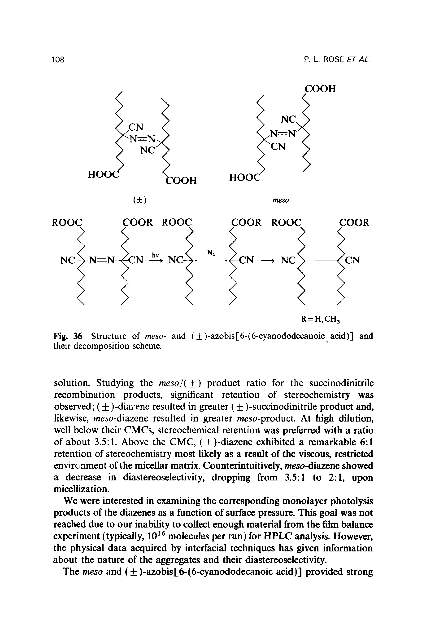 Fig. 36 Structure of meso- and (+ )-azobis[6-(6-cyanododecanoic acid)] and their decomposition scheme.