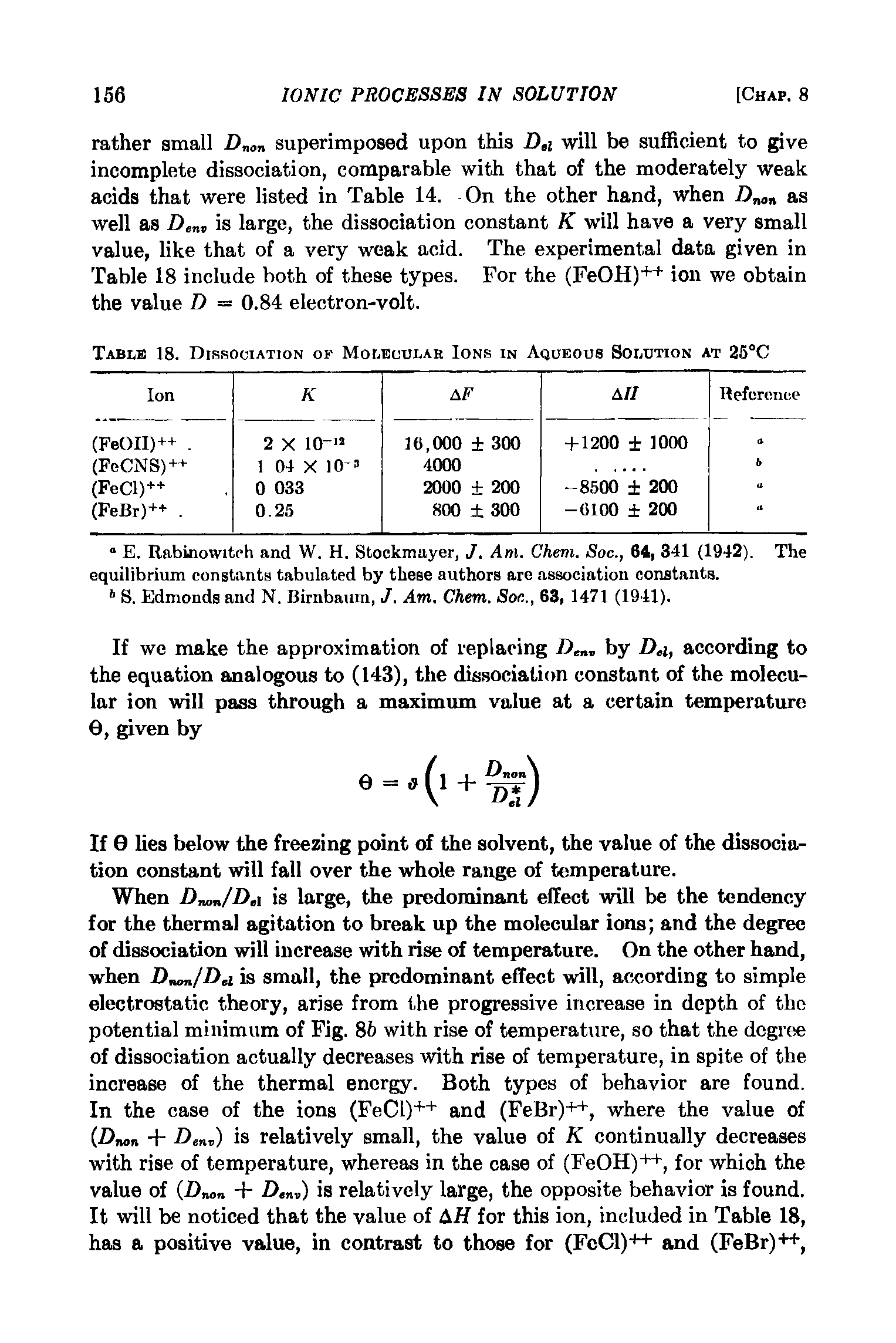 Table 18. Dissociation of Molecular Ions in Aqueous Solution at 25°C