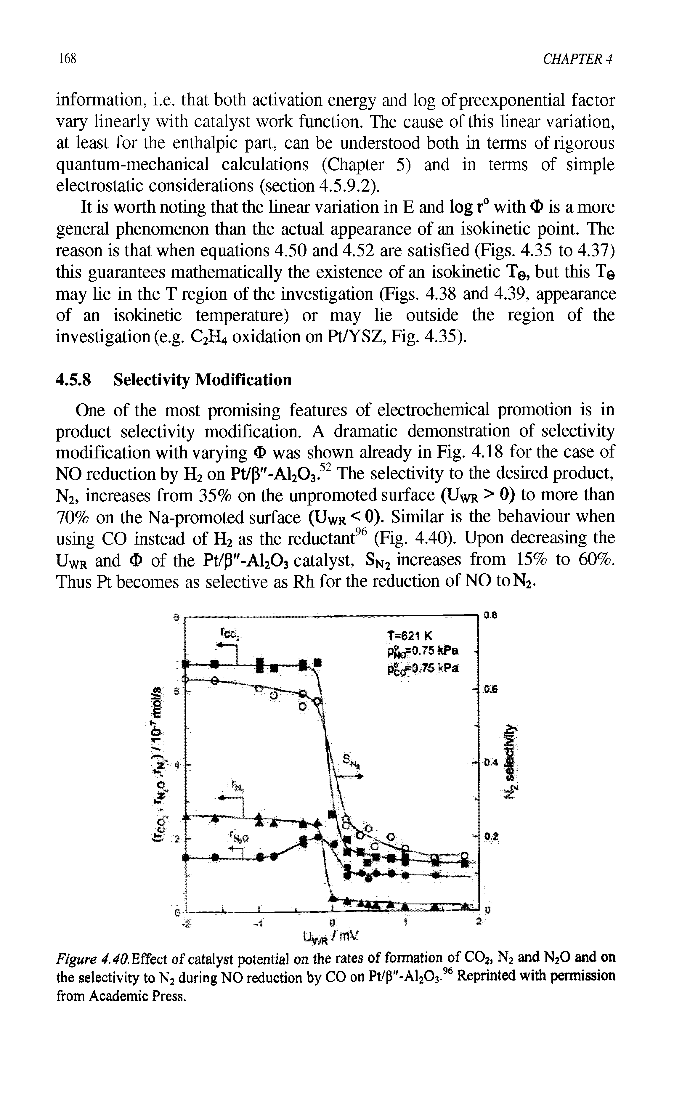 Figure 4.40. Effect of catalyst potential on the rates of formation of C02) N2 and N20 and on the selectivity to N2 during NO reduction by CO on Pt/(3 -Al20j.96 Reprinted with permission from Academic Press.