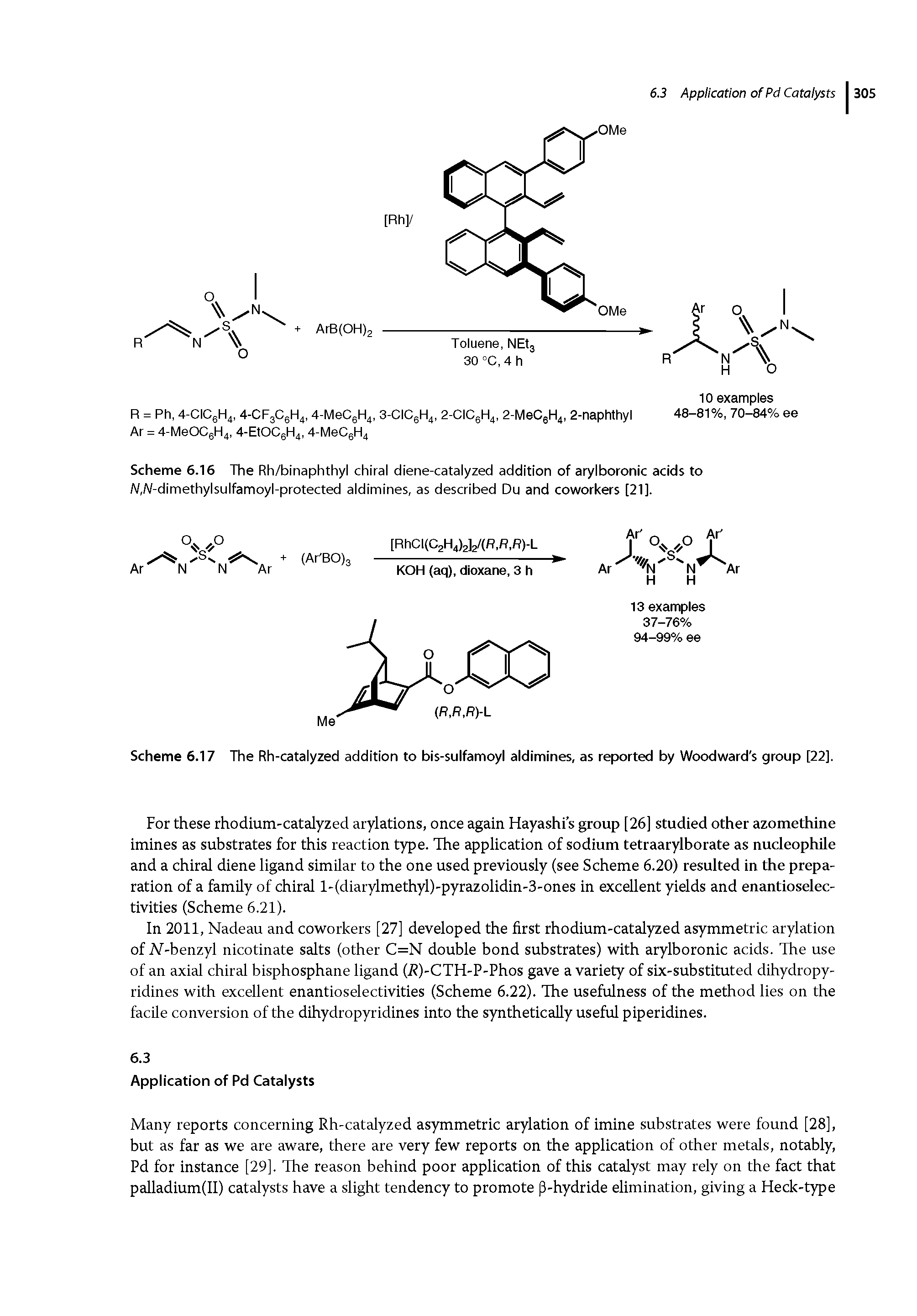 "Scheme 6.16 The Rh/binaphthyl chiral <a href=""/info/diene_nd_catalyzed"">diene-catalyzed</a> addition of <a href=""/info/arylboronic_acids"">arylboronic acids</a> to W,W-dimethylsulfamoyl-protected aldimines, as described Du and coworkers [21]."