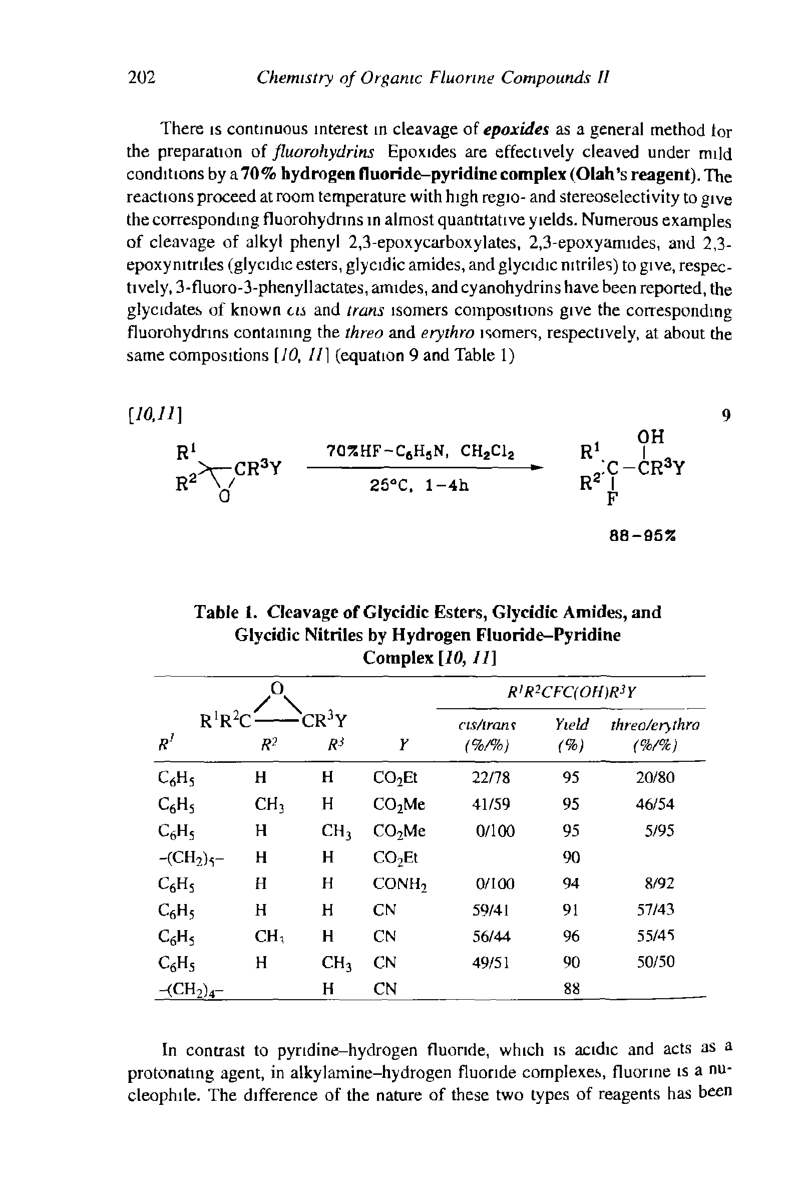 "Table 1. Cleavage of Glycidic Esters, Glycidic Amides, and <a href=""/info/glycidic_nitriles"">Glycidic Nitriles</a> by <a href=""/info/hydrogen_fluoride_pyridine"">Hydrogen Fluoride-Pyridine</a> Complex 110,11]"