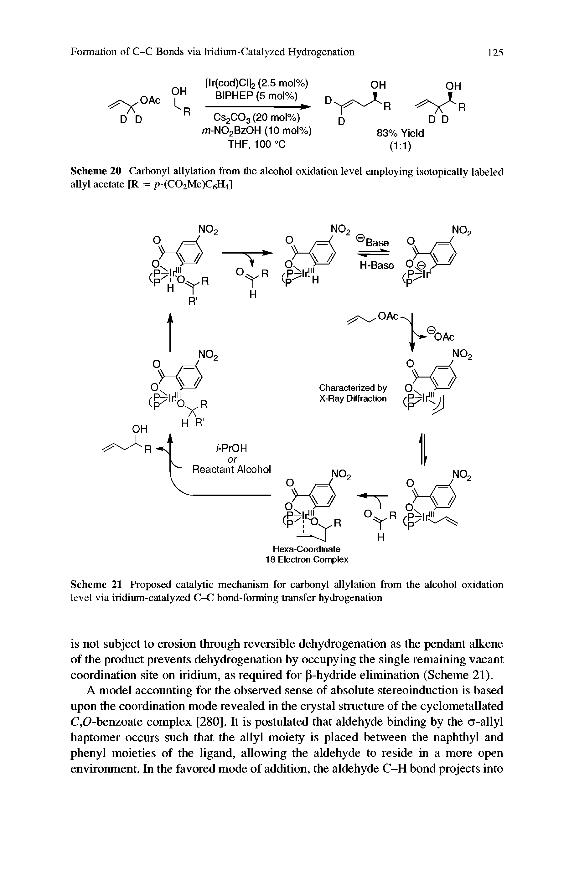 "Scheme 20 <a href=""/info/carbonyl_allylations"">Carbonyl allylation</a> from the <a href=""/info/oxidation_of_alcohols"">alcohol oxidation</a> level employing <a href=""/info/isotopic_labeling"">isotopically labeled</a> allyl acetate [R = p-(C02Me)C6H4]"