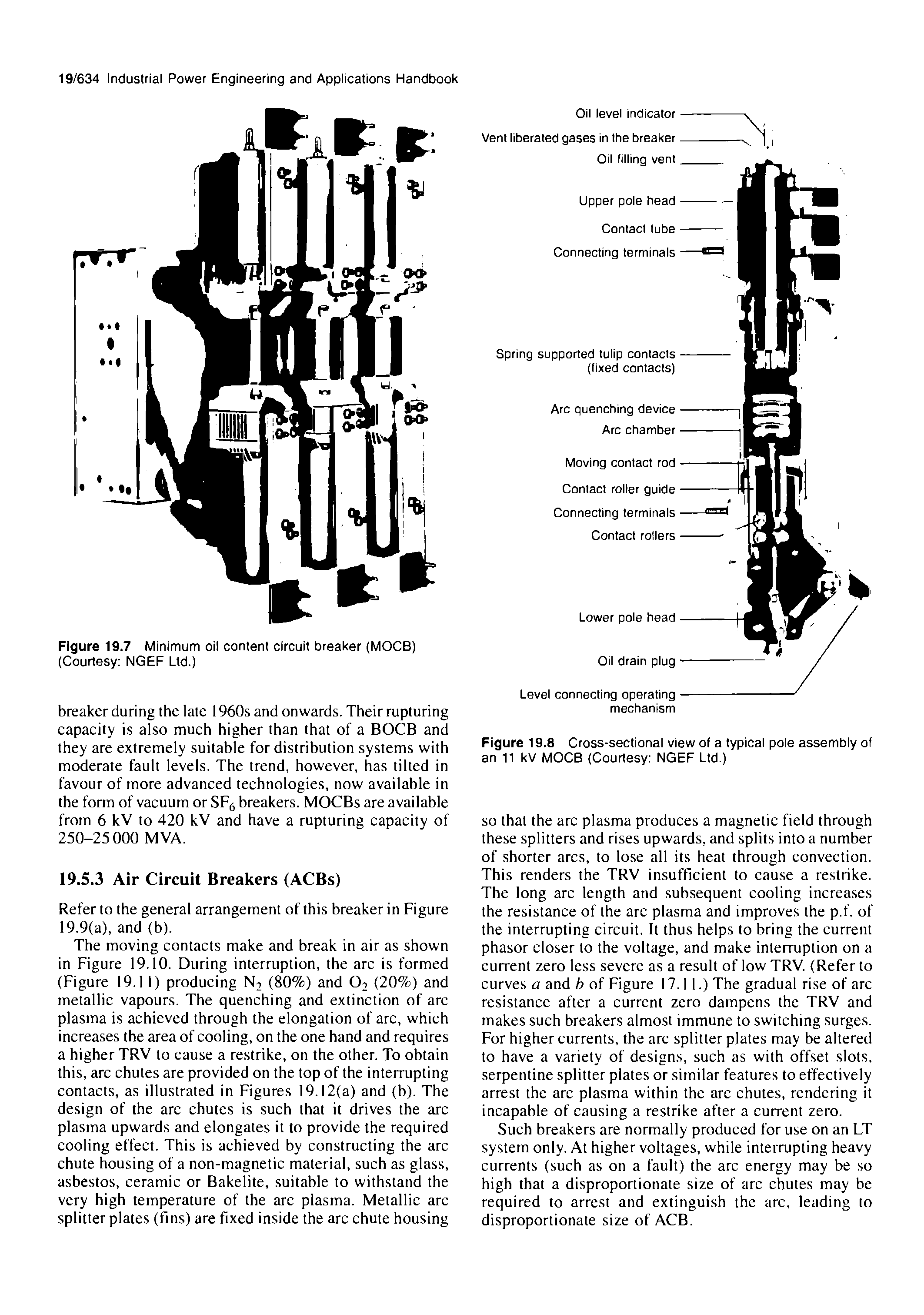 Figure 19.8 Cross-sectional view of a typical pole assembly of an 11 kV MOCB (Courtesy NGEF Ltd.)