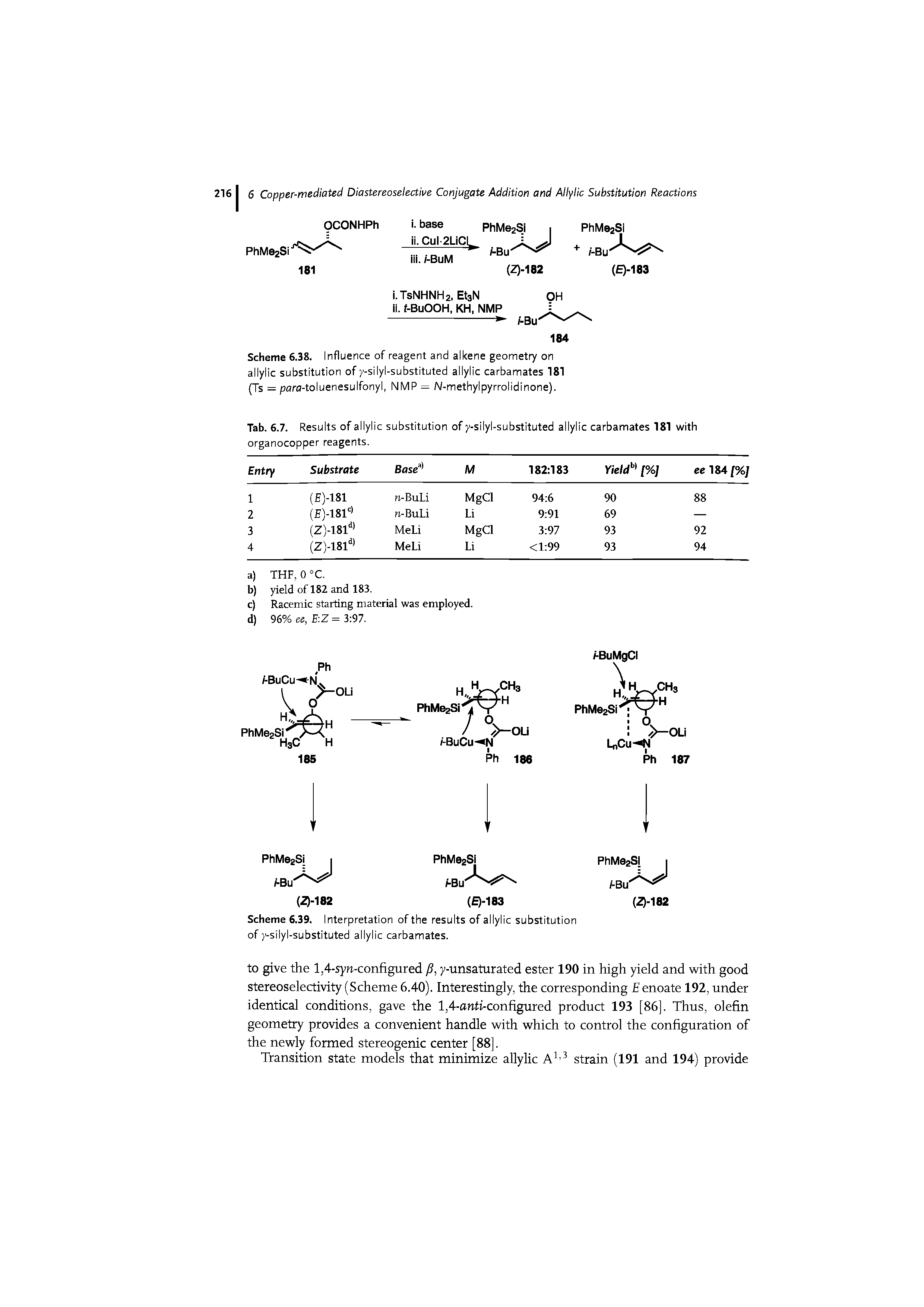 "Scheme 6.38. Influence of reagent and alkene geomet7 on <a href=""/info/allylic_substitution"">allylic substitution</a> of y-silyl-<a href=""/info/allyl_carbamates_substitution"">substituted allylic carbamates</a> 181 (Ts = para-toluenesulfonyl, NMP = N-methylpyrrolidinone)."