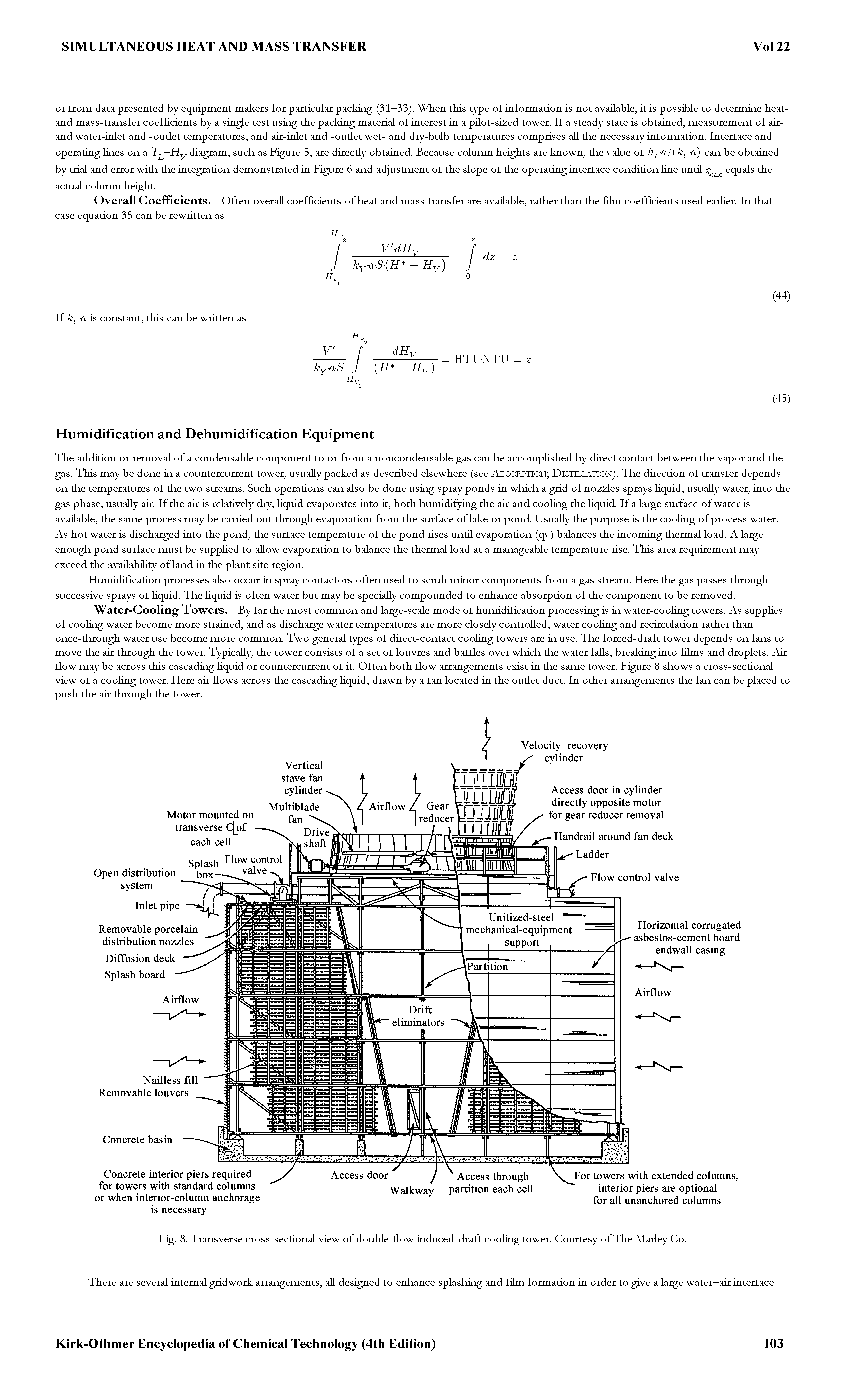 "Fig. 8. <a href=""/info/transverse_cross_section"">Transverse cross-sectional</a> view of double-flow <a href=""/info/cooling_tower_induced_draft"">induced-draft cooling tower</a>. Courtesy of The Madey Co."