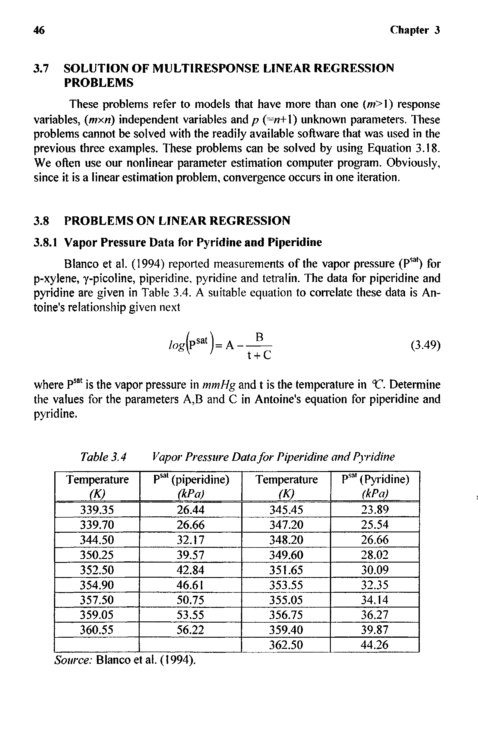 Table 3.4 Vapor Pressure Data for Piperidine and Pyridine